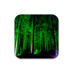 Spooky Forest With Illuminated Trees Rubber Coaster (square)  by Nexatart
