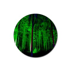 Spooky Forest With Illuminated Trees Rubber Coaster (round)  by Nexatart