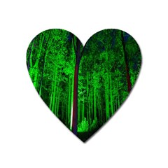 Spooky Forest With Illuminated Trees Heart Magnet by Nexatart
