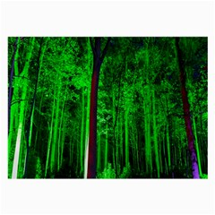 Spooky Forest With Illuminated Trees Large Glasses Cloth (2 Side) by Nexatart