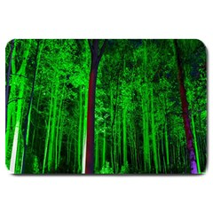 Spooky Forest With Illuminated Trees Large Doormat  by Nexatart