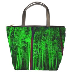 Spooky Forest With Illuminated Trees Bucket Bags by Nexatart