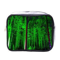 Spooky Forest With Illuminated Trees Mini Toiletries Bags by Nexatart