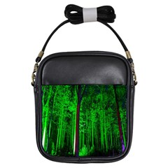 Spooky Forest With Illuminated Trees Girls Sling Bags by Nexatart