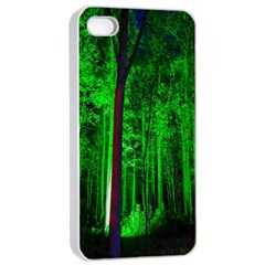 Spooky Forest With Illuminated Trees Apple Iphone 4/4s Seamless Case (white) by Nexatart