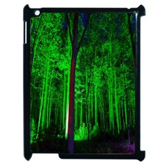 Spooky Forest With Illuminated Trees Apple Ipad 2 Case (black) by Nexatart