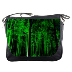 Spooky Forest With Illuminated Trees Messenger Bags by Nexatart