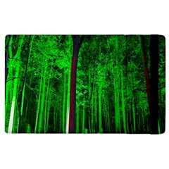 Spooky Forest With Illuminated Trees Apple Ipad 3/4 Flip Case by Nexatart