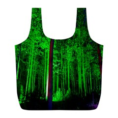 Spooky Forest With Illuminated Trees Full Print Recycle Bags (l)  by Nexatart