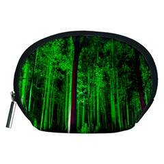 Spooky Forest With Illuminated Trees Accessory Pouches (medium)  by Nexatart