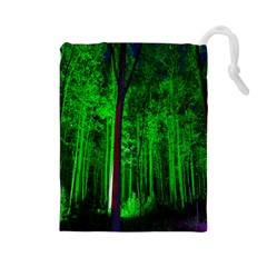 Spooky Forest With Illuminated Trees Drawstring Pouches (large)  by Nexatart
