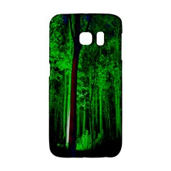 Spooky Forest With Illuminated Trees Galaxy S6 Edge by Nexatart