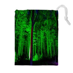 Spooky Forest With Illuminated Trees Drawstring Pouches (extra Large) by Nexatart