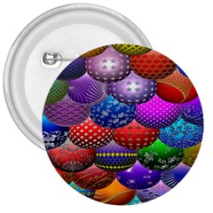 Fun Balls Pattern Colorful And Ornamental Balls Pattern Background 3  Buttons by Nexatart