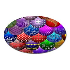 Fun Balls Pattern Colorful And Ornamental Balls Pattern Background Oval Magnet by Nexatart