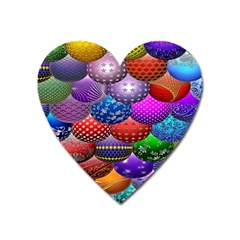 Fun Balls Pattern Colorful And Ornamental Balls Pattern Background Heart Magnet