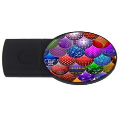 Fun Balls Pattern Colorful And Ornamental Balls Pattern Background Usb Flash Drive Oval (2 Gb)