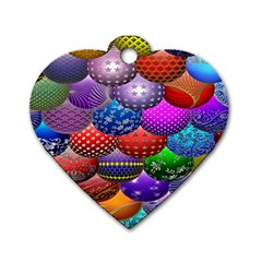 Fun Balls Pattern Colorful And Ornamental Balls Pattern Background Dog Tag Heart (one Side)