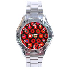Polka Dot Texture Digitally Created Abstract Polka Dot Design Stainless Steel Analogue Watch