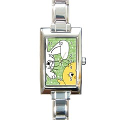Easter Bunny And Chick  Rectangle Italian Charm Watch by Valentinaart