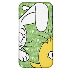 Easter Bunny And Chick  Apple Iphone 4/4s Hardshell Case (pc+silicone) by Valentinaart