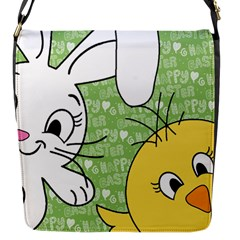Easter Bunny And Chick  Flap Messenger Bag (s) by Valentinaart