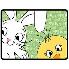 Easter Bunny And Chick  Double Sided Fleece Blanket (large)  by Valentinaart