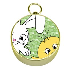 Easter Bunny And Chick  Gold Compasses by Valentinaart