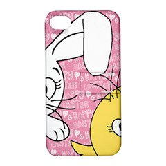 Easter Bunny And Chick  Apple Iphone 4/4s Hardshell Case With Stand by Valentinaart