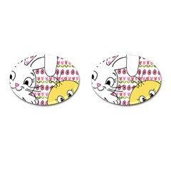 Easter Bunny And Chick  Cufflinks (oval) by Valentinaart