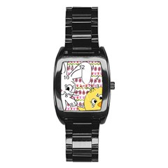 Easter Bunny And Chick  Stainless Steel Barrel Watch