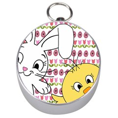 Easter Bunny And Chick  Silver Compasses by Valentinaart