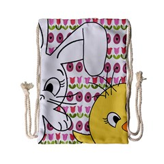 Easter Bunny And Chick  Drawstring Bag (small) by Valentinaart