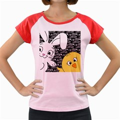 Easter Bunny And Chick  Women s Cap Sleeve T Shirt