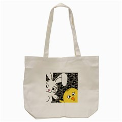 Easter Bunny And Chick  Tote Bag (cream) by Valentinaart