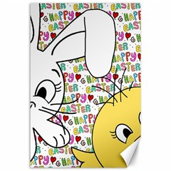 Easter Bunny And Chick  Canvas 24  X 36  by Valentinaart