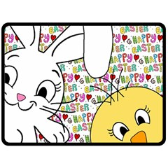 Easter Bunny And Chick  Fleece Blanket (large)  by Valentinaart