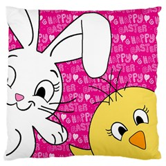 Easter Bunny And Chick  Standard Flano Cushion Case (one Side)