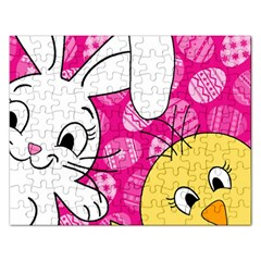 Easter Bunny And Chick  Rectangular Jigsaw Puzzl by Valentinaart
