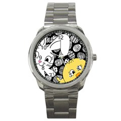 Easter Bunny And Chick  Sport Metal Watch by Valentinaart