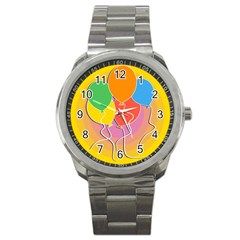 Birthday Party Balloons Colourful Cartoon Illustration Of A Bunch Of Party Balloon Sport Metal Watch by Nexatart