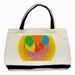 Birthday Party Balloons Colourful Cartoon Illustration Of A Bunch Of Party Balloon Basic Tote Bag