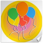 Birthday Party Balloons Colourful Cartoon Illustration Of A Bunch Of Party Balloon Canvas 12  x 12   12 x12 Canvas - 1