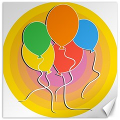 Birthday Party Balloons Colourful Cartoon Illustration Of A Bunch Of Party Balloon Canvas 20  X 20   by Nexatart