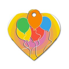 Birthday Party Balloons Colourful Cartoon Illustration Of A Bunch Of Party Balloon Dog Tag Heart (two Sides)
