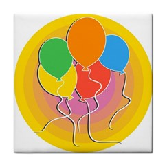 Birthday Party Balloons Colourful Cartoon Illustration Of A Bunch Of Party Balloon Face Towel by Nexatart