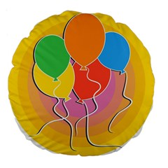 Birthday Party Balloons Colourful Cartoon Illustration Of A Bunch Of Party Balloon Large 18  Premium Flano Round Cushions by Nexatart