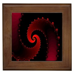 Red Fractal Spiral Framed Tiles