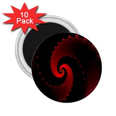 Red Fractal Spiral 2 25  Magnets (10 Pack)  by Nexatart