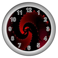 Red Fractal Spiral Wall Clocks (silver)  by Nexatart